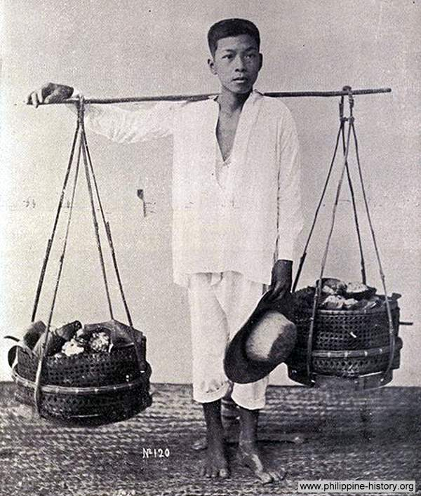 Photo of street vegetable vendor in Manila in 1899.