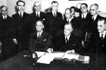 President Roosevelt with Manuel L. Quezon and Manuel Roxas