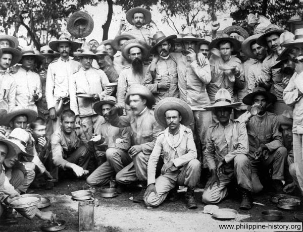 Picture of Spanish soldiers held as prisoners in Manila by Americans.